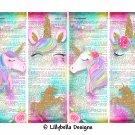 "Pink Unicorn Dictionary ~ 4 Digital Art Bookmarks ~ 2.5"" x 7"" & 4 Tags ~ 3"" x 5"""