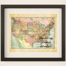 """You Are My Greatest Adventure ~ Vintage Map: 10"""" x 8"""" ~ Wanderlust, Travel, Vacation, Adventure"""