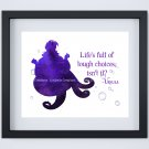 """Ursula - The Little Mermaid - Watercolor Silhouette with Quote 10"""" x 8"""" ~ Sea Witch"""