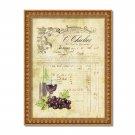 "French Invoice Wine ~ 8"" x 10"" ~ Mixed Media ~ Vintage Ephemera - Wine, Grapes, Paris"