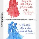 "12 Disney Couple Watercolor Silhouettes w/quotes 7"" x 5"" Snow White Cinderella Aurora Ariel Belle"