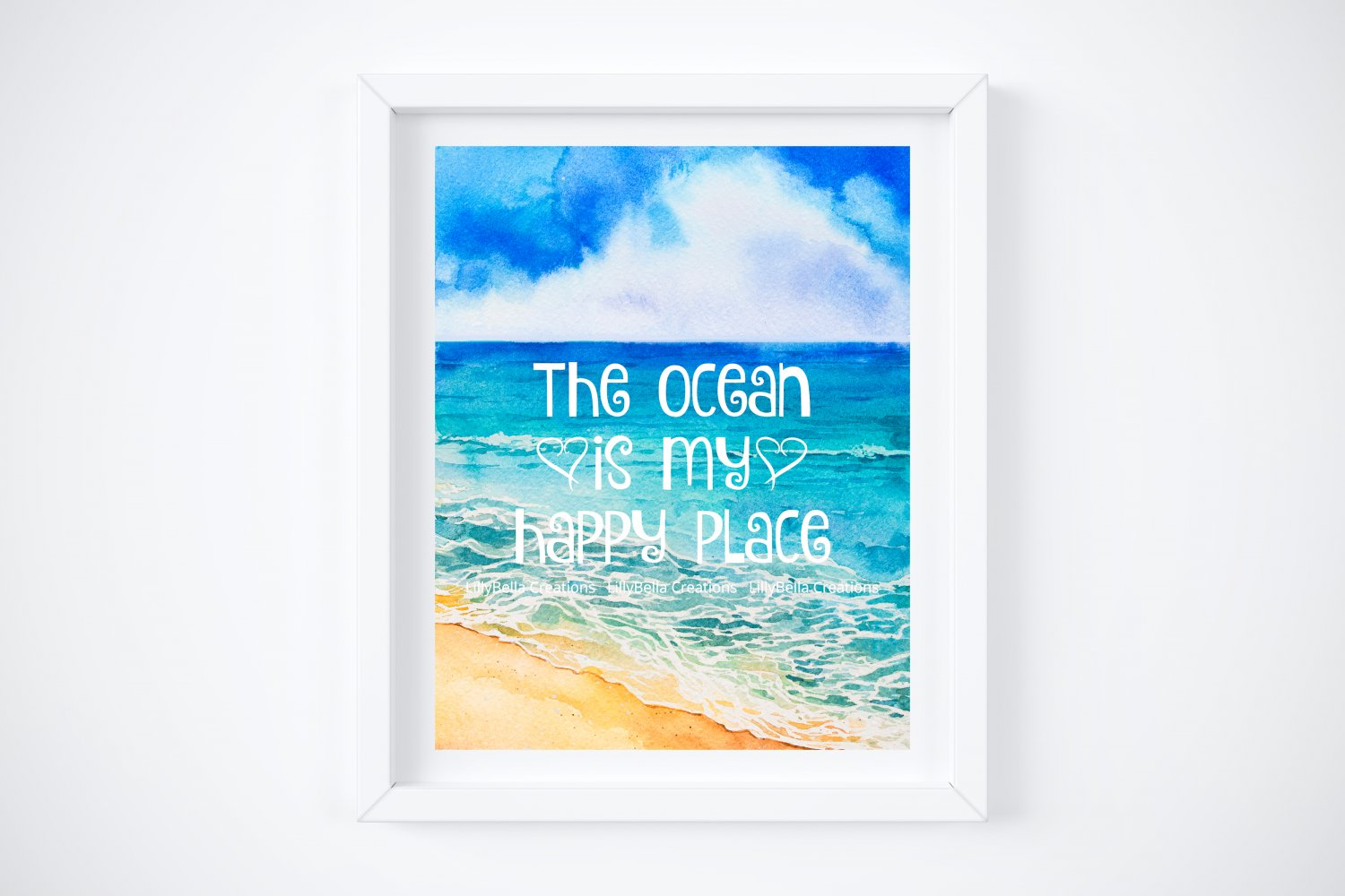 """The Ocean is my Happy Place Art Print ~ 8"""" x 10"""" - Water, Beach, Sea, Surf, Sand"""