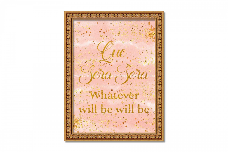"Que Sera Sera Song ~ Doris Day Watercolor Art Print: 8"" x 10"" ~ Gold Glitter, Pink, Whatever will be"