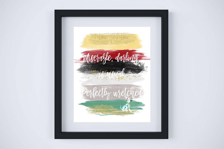 "Cruella de Vil - 101 Dalmations Watercolor Brush Art Print with Quote: 8"" x 10"" ~ Perfectly wretched"