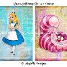 "6 Alice in Wonderland Dictionary Digital Art Prints ~ 5"" x 7"" & 4 Bookmarks ~ Characters"