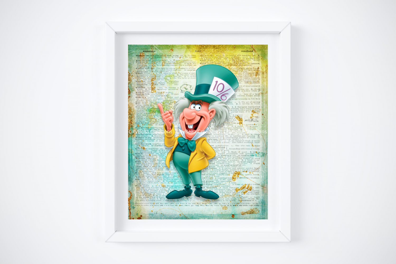 "Mad Hatter ~ Alice in Wonderland Dictionary Digital Art Print ~ 8"" x 10"""