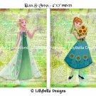 """Elsa and Anna ~ Frozen Fever Dictionary Digital Art Prints ~ 5"""" x 7"""""""