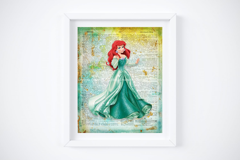 "Ariel ~ The Little Mermaid Dictionary Digital Art Print ~ 8"" x 10"""
