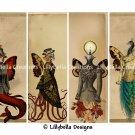 "Steampunk ~ 20 Layered Digital Art Bookmarks ~ 2.5"" x 7"" ~ Victorian, Futurism, Cyberpunk"