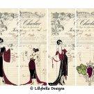 "Wine Ladies ~ 12 Layered Digital Art Bookmarks ~ 2.5"" x 7"" - Art Deco, French Ephemera, Party"