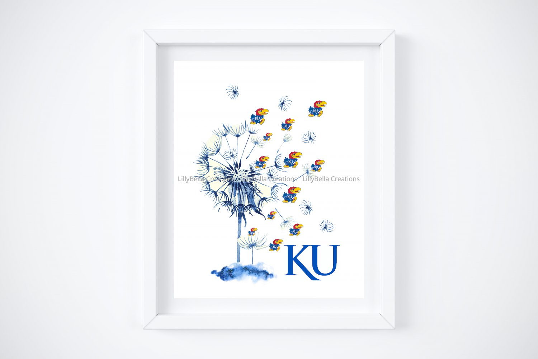 "KU ~ Kansas University ~ Jayhawk Dandelion Art Print:  8"" x 10"" ~ Rock Chalk, Basketball, Lawerence"