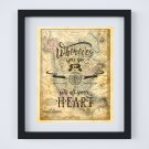 """Wherever you go... ~ Vintage Map: 8"""" x 10"""" ~ Heart, Wanderlust, Travel, Vacation, Adventure"""