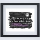 """Edgar Allan Poe ~ Dream within a Dream Watercolor Brush Art Print with Quote: 8"""" x 10"""""""