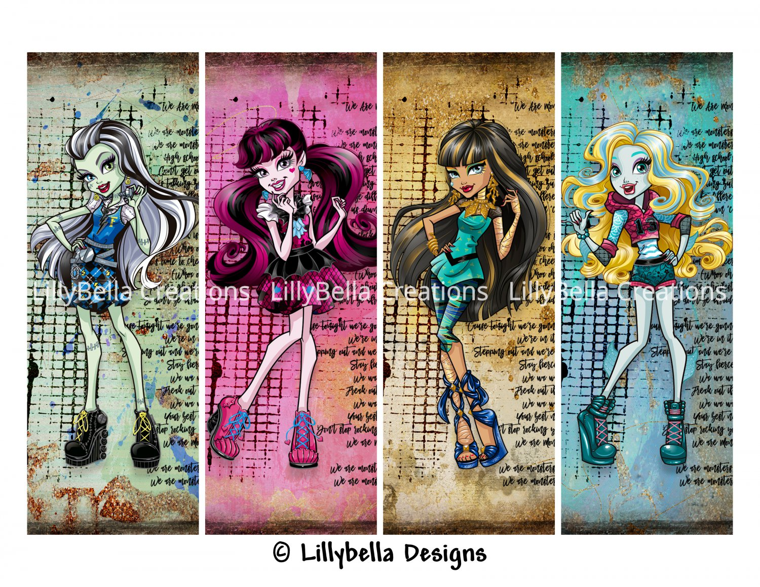 Monster High Girls ~ 12 Digital Art Bookmarks ~ without names