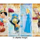 "Pinocchio, Jiminy Cricket, Blue Fairy & Gepetto ~ 4 Layered Digital Art Bookmarks ~ 2.5"" x 7"""