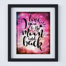 """Love You to the Moon and Back ~ Dictionary Digital Art Print: 8"""" x 10"""" ~ Pink Watercolor"""