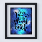 """Love You to the Moon and Back ~ Dictionary Digital Art Print: 8"""" x 10"""" ~ Blue Watercolor"""