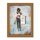 """Barbie ~ Dictionary Digital Art Print ~ 8"""" x 10"""" - African American, Black, Dark Skin, Watercolor"""