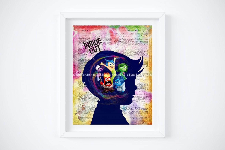 "Inside Out ~ Dictionary Digital Art Print ~ 8"" x 10"" ~ Inside a Boy's Head Emotions"
