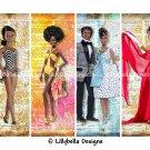 Barbie ~ 8 Digital Art Bookmarks ~ Vintage, Retro, Classic