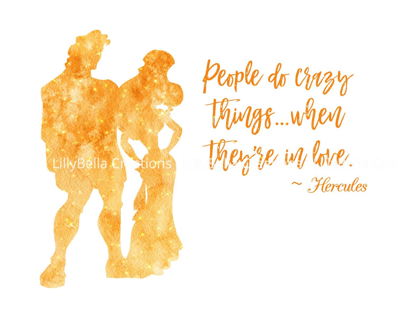 """Hercules Watercolor Silhouette with Quote 10"""" x 8"""" + Greeting Card ~ Hercules & Megara"""