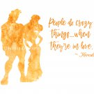 "Hercules Watercolor Silhouette with Quote 10"" x 8"" + Greeting Card ~ Hercules & Megara"