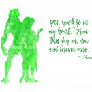 "Tarzan Watercolor Silhouette with Quote 10"" x 8"" + Greeting Card ~ Tarzan & Jane"