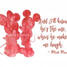 "Mickey Mouse Watercolor Silhouette with Quote 10"" x 8"" + Greeting Card ~ Mickey & Minnie"