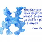 "Donald Duck Watercolor Silhouette with Quote 10"" x 8"" + Greeting Card ~ Donald & Daisy"
