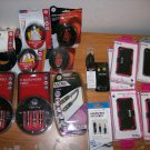 NWT 20 Pce. Lot Audio/Video Cables iPhone Cases Clear Out
