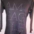Womens Juniors S/P American Eagle Long Sleeves Charcoal Rhinestones Tee Shirt