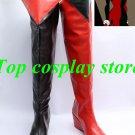 Batman  Arkham Asylum Harley Quinn Cosplay Shoes Boots Red + Black new come ver