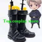 Axis Powers Hetalia Prussia cool black Patent Cosplay Boots shoes Version C #APH