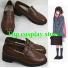 Noragami Hiyori Iki Cosplay Leather Shoes boots #NOR004 uniform school shoe boot