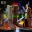 Star Wars Jedi Obi-Wan Kenobi Cosplay Shoes Brown Boots Custom Made pu leather 2