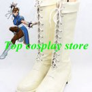 Street Fighter Cosplay Shoes Chun Li White Boots Version B shoe boot