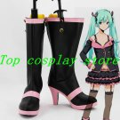 Vocaloid Hatsune Miku Pink and Black Hight Heel Cosplay Boots shoes #VOC027 shoe