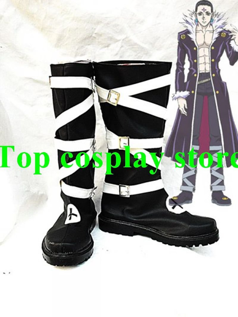 Hunter X Hunter Chrollo Lucilfer Cosplay Boots shoes black&white Ver #HXH005