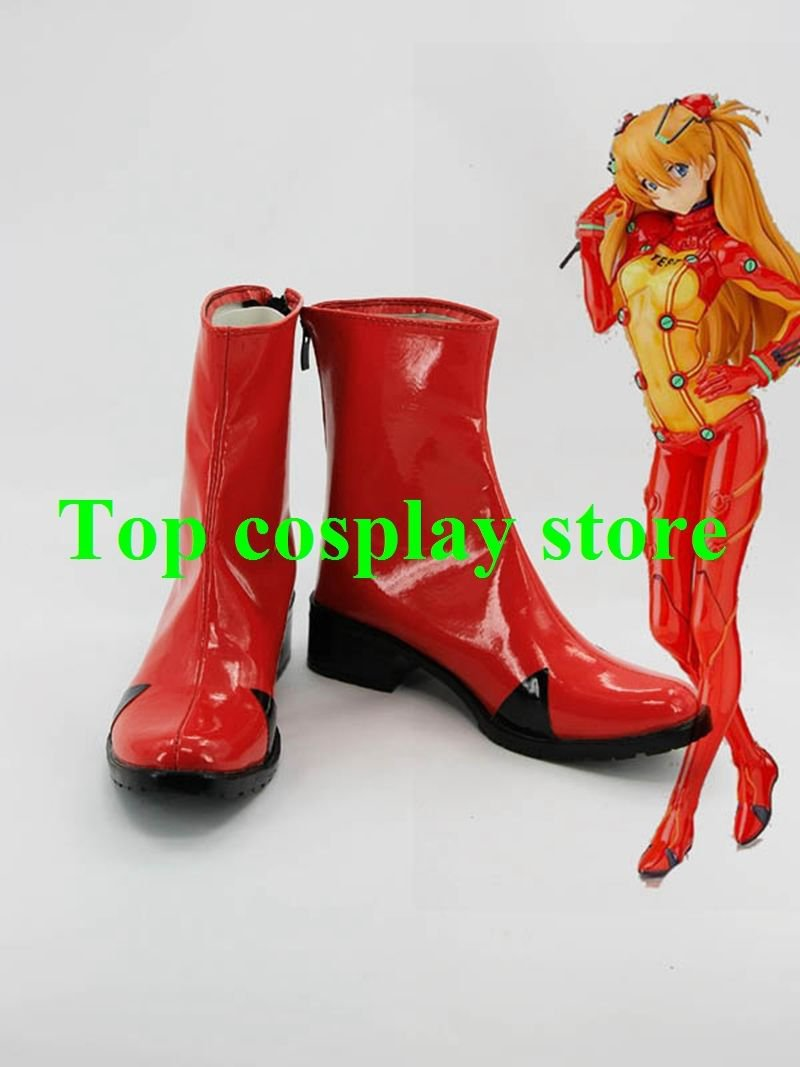 EVA Neon Genesis Evangelion Soryu Asuka Langley Red Short Cosplay Boots shoes #E