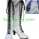 Black Butler Angela's White Lace Up Cosplay Boots shoes #BBC0043 shoe boot