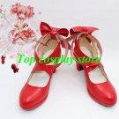 Puella Magi Madoka Magica Kaname Madoka Cosplay Shoes boots red Ver high heel