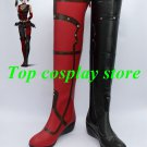 Batman  Arkham Asylum Harley Quinn Cosplay Shoes Boots Red + Black  #15YJZ58