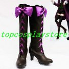 Black Butler II Alois Trancy Pretty Bow Cosplay Boots shoes with purple lace up #BBC64