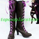 Black Butler II Alois Trancy Pretty Bow Cosplay Boots shoes with purple lace up #BC68