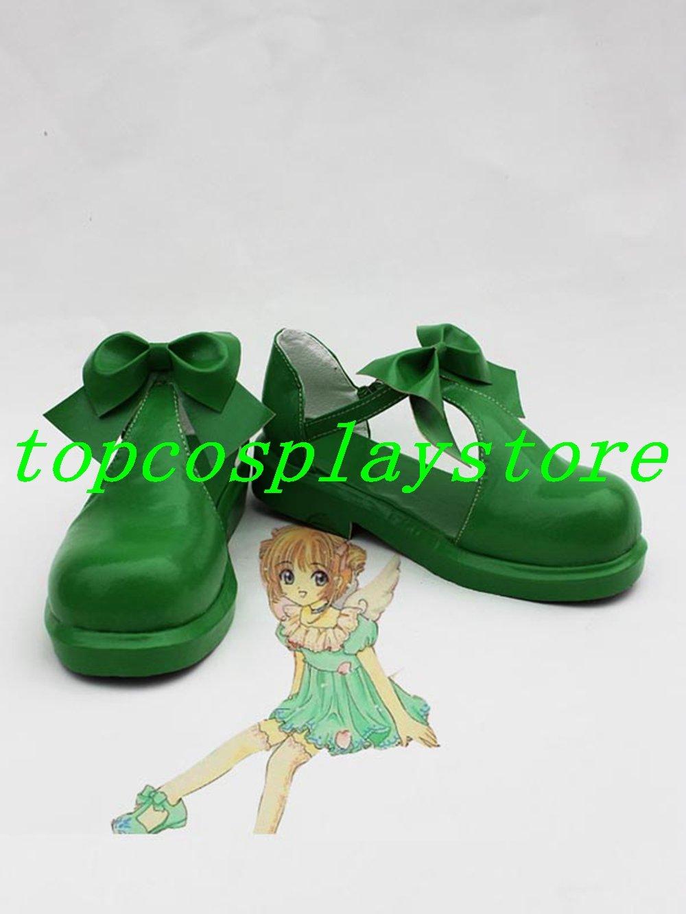 CARDCAPTOR SAKURA KINOMOTO SAKURA red cute lolita hand made shoe Cosplay Boots shoes green  #cos0196