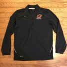 """Nike Mens Small Dri Fit """"C"""" Embroidered Baseball Half Zip Black Pull Over Jacket"""