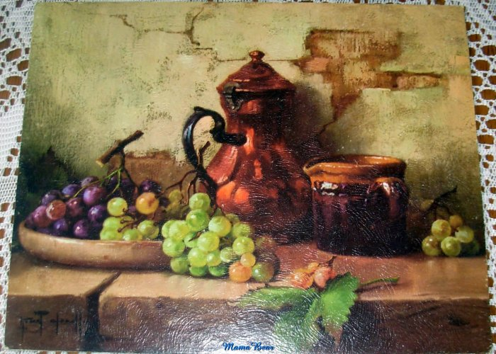 Lithograph Print Still Life with Grapes Chailloux