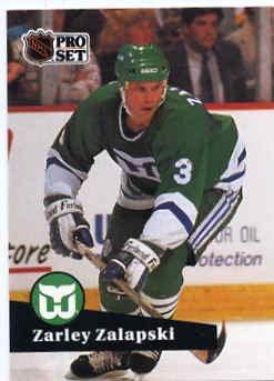1991/92 NHL  Pro Set Hockey Card Zarley Zalapski #91  N/Mint