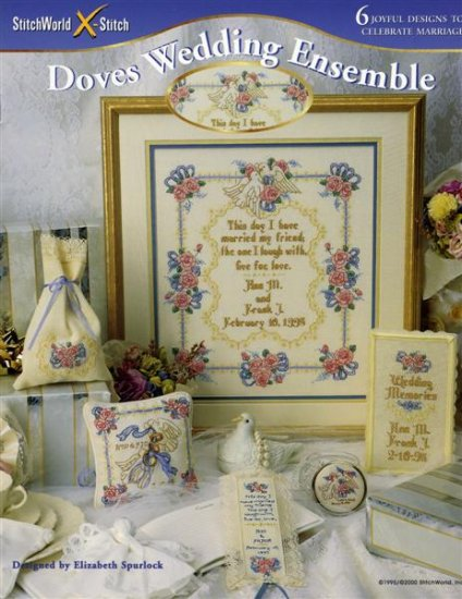 StitchWorld X-Stitch DOVES WEDDING ENSEMBLE Cross Stitch Pattern Leaflet New