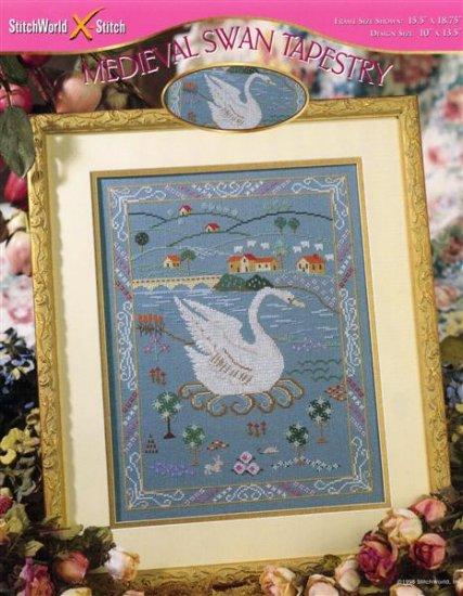 StitchWorld X-Stitch Medievil Swan Tapestry Cross Stitch Pattern Leaflet New